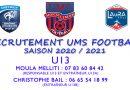 RECRUTEMENT 2020/2021 CATÉGORIE U13 / U12 …..UMS FOOTBALL
